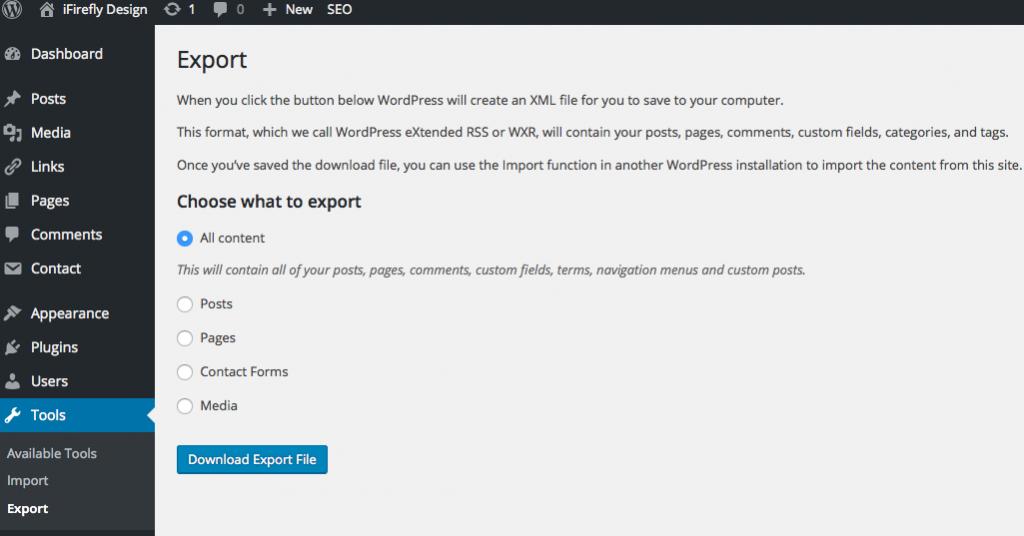 WordPress Export Feature Step 3
